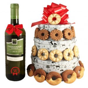 Christmas Perfecto With White Wine – Cookies Gift Basket Tin Tower