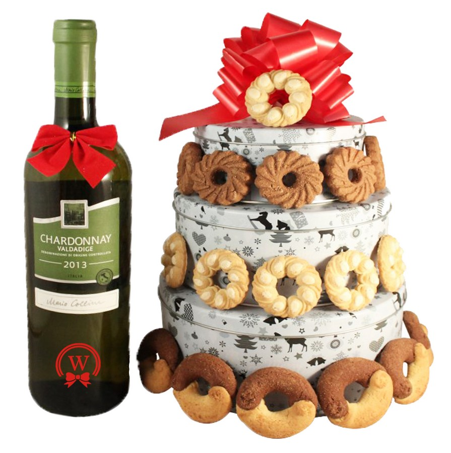Christmas Perfecto With White Wine Cookies Gift Basket Tin Tower