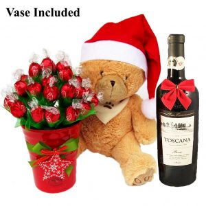 Christmas Teddy Wishes With Red Wine