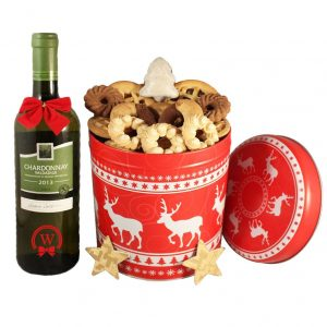 Christmas Unlimited Cookies Gift Basket With White Wine