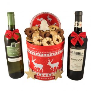 Christmas Unlimited Cookies Tin Box With Dual Wines – Cookies Gift Basket