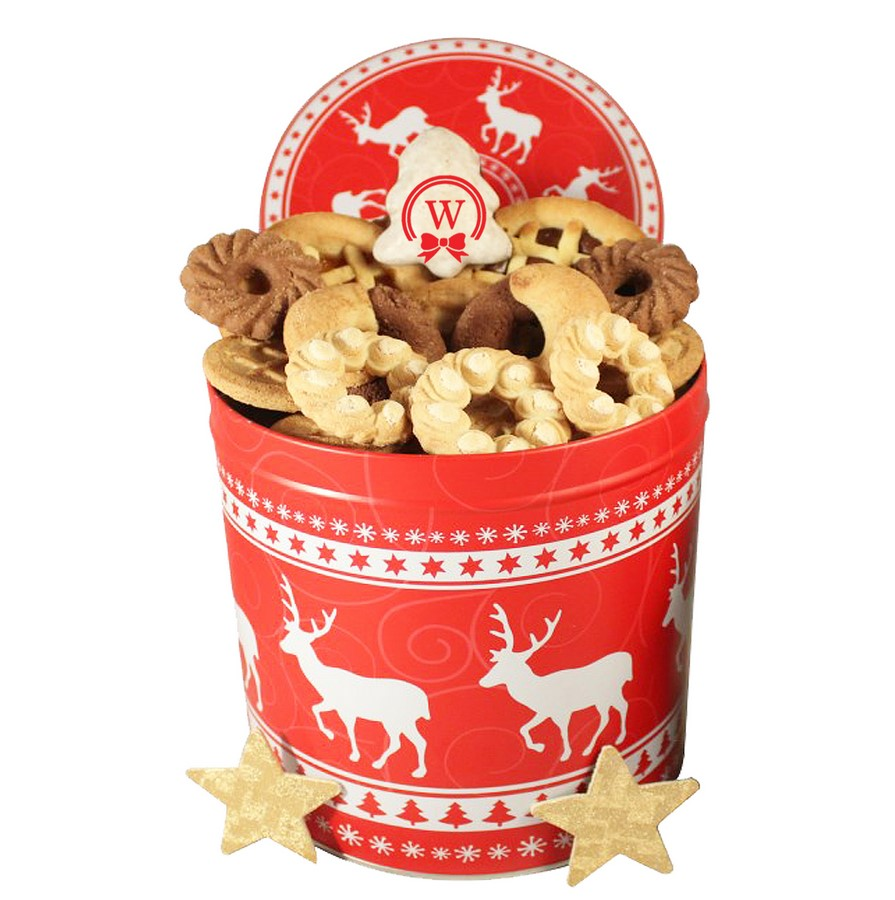 Christmas Unlimited Cookies Gift Basket Tin Box Send Gifts In Europe
