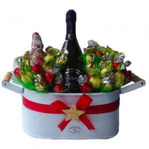 Christmas Sweet Flowerbed with A Sparkling Wine