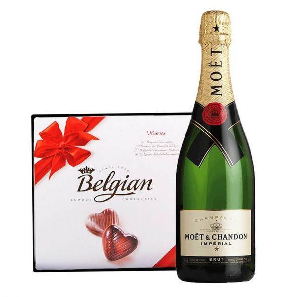 Moet Chandon & Belgian Bonbons Box