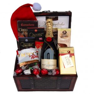 Christmas MOET Treasure chest Gift Basket