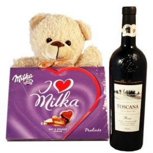 Sweet Milka Hearts with Red Wine and Teddy