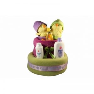 Green And Purple Double Chicks Diaper Cake