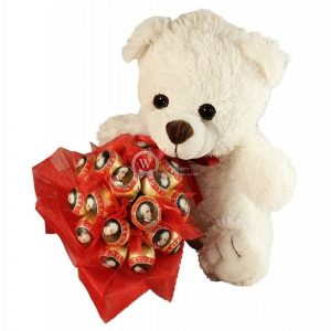 Mozart Teddy With Loving Hand Bouquet