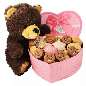 Heart Shape Teddy Cookie Gift
