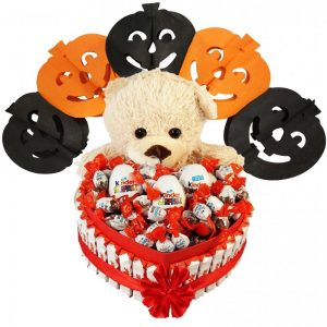 Bostjan's Teddy Bear Heart Shape Kinder – Halloween Gift Basket